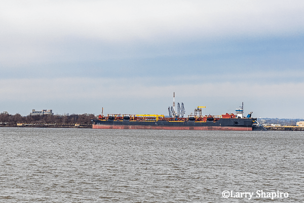 freighter on the Delaware River