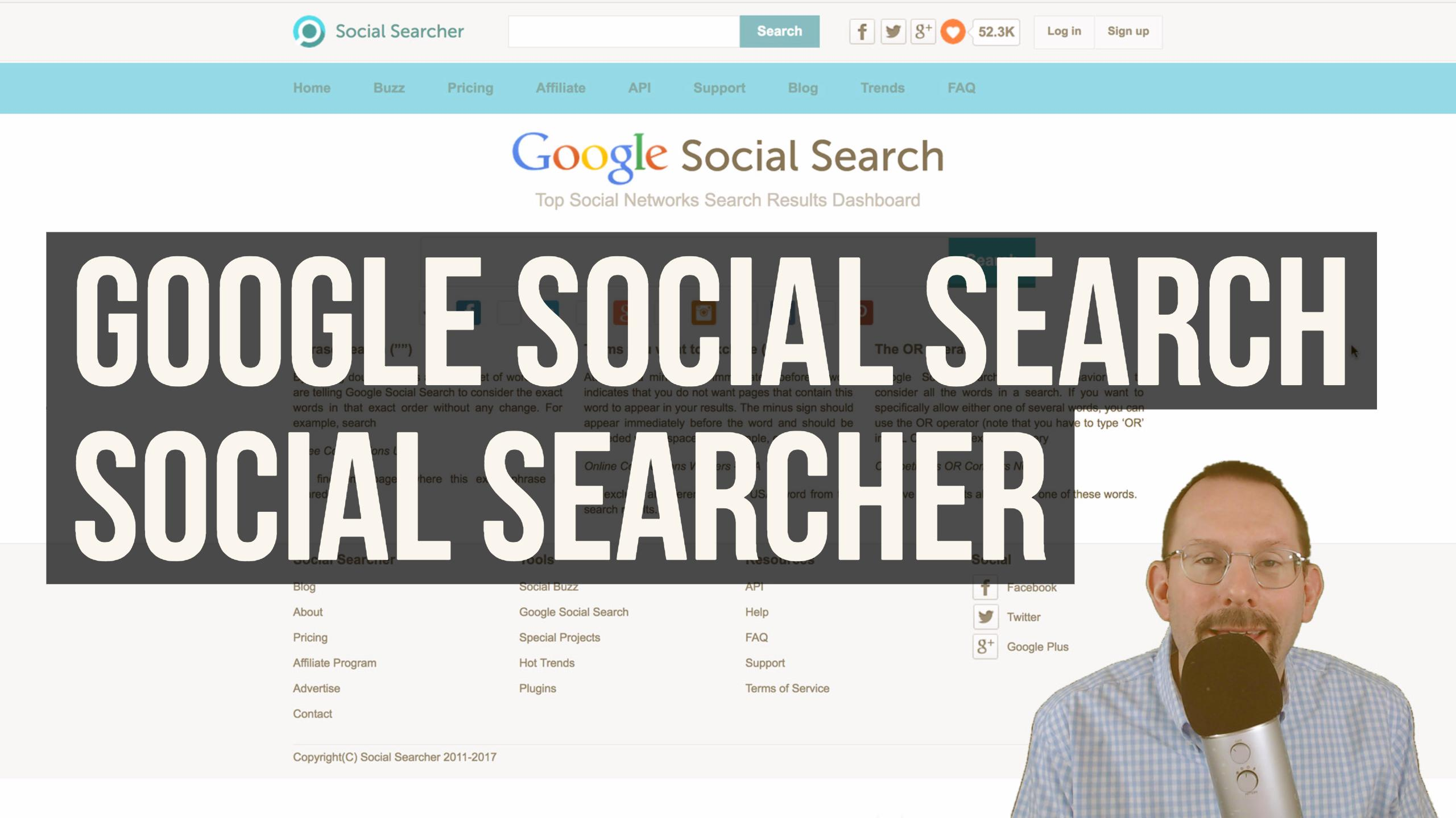 Google Social Search and More using Social Searcher
