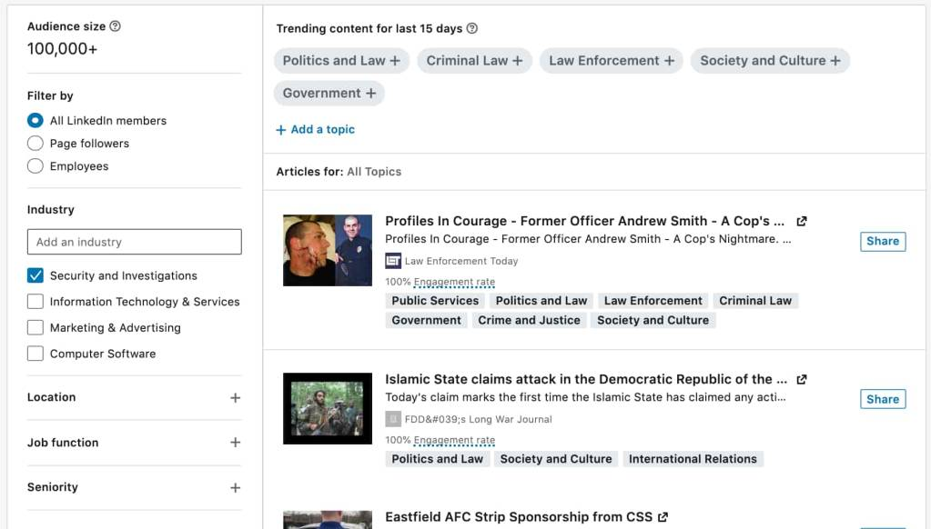 The new Content Suggestions tab on LinkedIn Pages