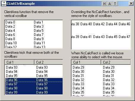 CListCtrl - Scrollbars are hidden, but they still work :)