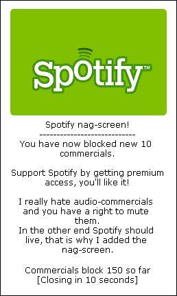 SpotiAmp nagscreen