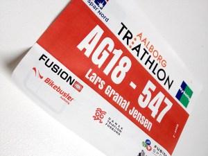 Startnummer Lars Granat - Aalborg Triathlon - DM Halv Jernmand