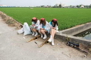 Street Photography, Asia, Taiwan, Photo Book, Lars Hübner, Fotograf, Nothing to Declare, Three Girls, Rice Field, Instruments, Smartphones, Chapel, Unforms, Funeral, Waiting