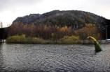 Nei, det er ikke Loch Ness monsteret Nessie som plutselig dukket opp nær Egersund. Men slik så det ut da flommen kom høsten 2008.