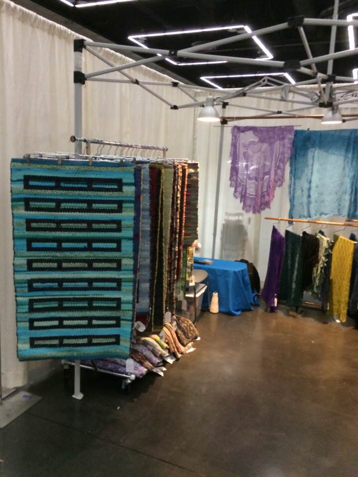 2018/04 My booth at the Portland Handweavers Guild at Gathering of the Guilds – April 27, 28, 29