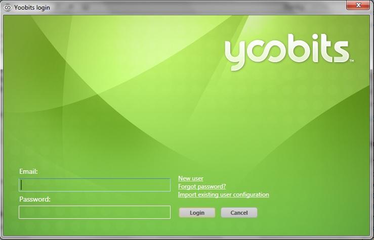 Login-vinduet i Yoobits