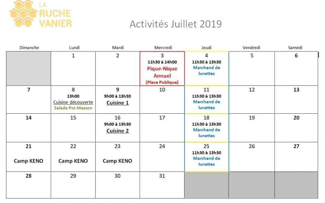 Calendrier Juillet 2019