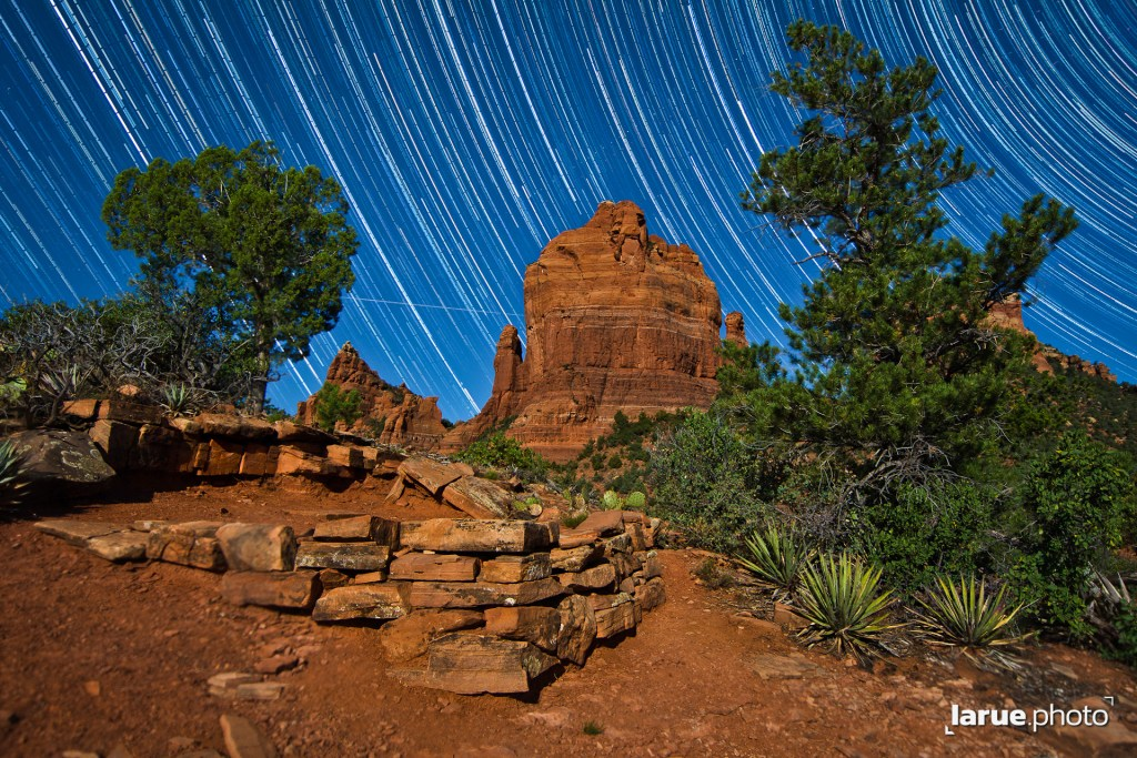 Star Trails as the Full Moon illuminates Sedona rocks