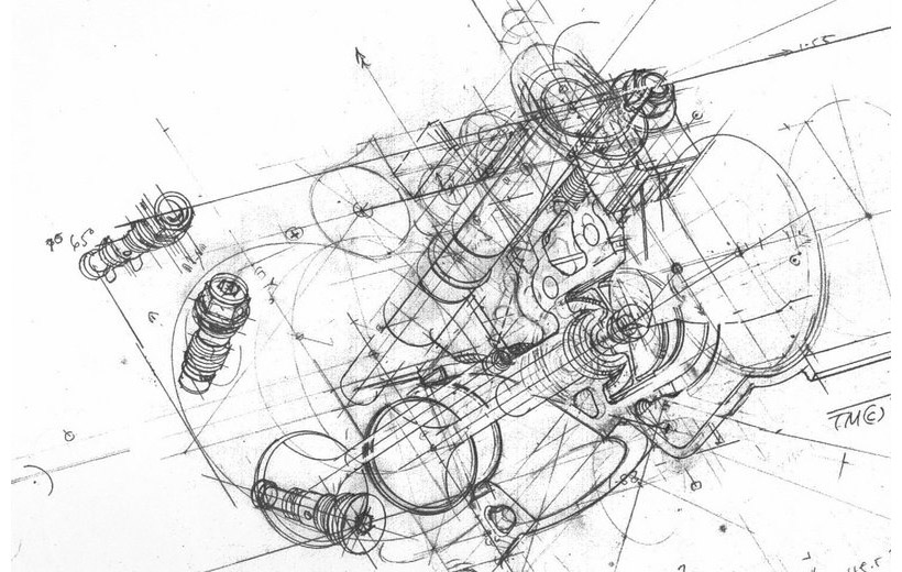 Car Motor Sketch, Car, Free Engine Image For User Manual