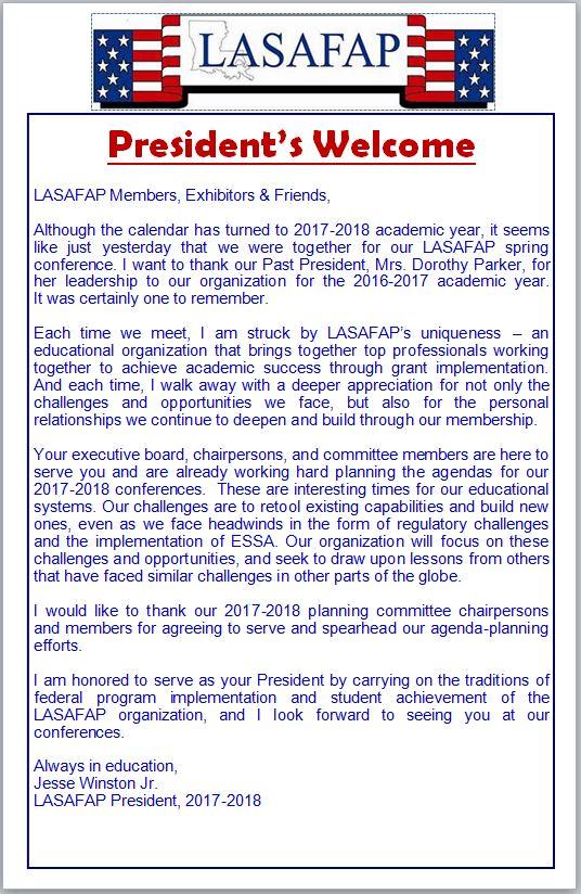 Spring Conference Agenda  Lasafap