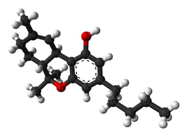 Molécula del Δ-9-Tetrahidrocannabinol, o THC