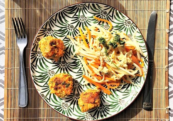 repas vegetarien carottes chou fleur tagliatelles de légumes