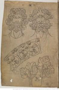 page du carnet de Villard de Honnecourt. La barbe se confond avec les ornements