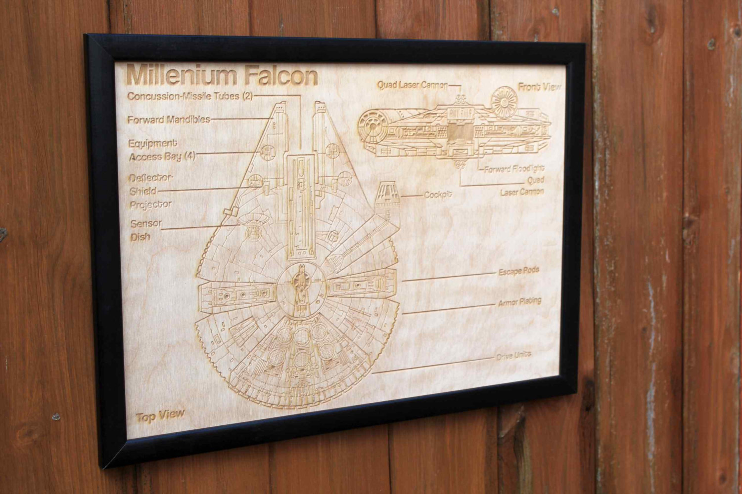 Wooden Millennium Falcon Map – Engraved into Wood – Lasaris