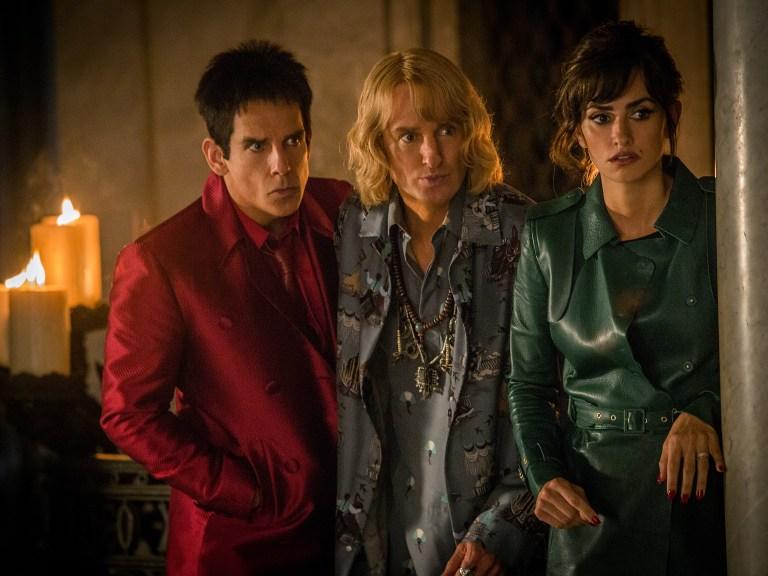 Left to right: Ben Stiller plays Derek Zoolander, Owen Wilson plays Hansel and Penelope Cruz plays Valentina Valencia in Zoolander No. 2 from Paramount Pictures.
