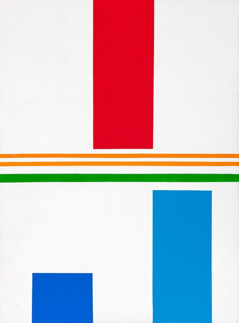 5.- © Waldo Balart, PROPOSICIÓN, FORMATO PEQUEÑO, MÓDULO ROJO CONTRA CYAN Y ULTRAMAR, 1979 Serie CONJUNTOS NO VACÍOS, Grupo LENGUAJE MODULAR Acrílico sobre lienzo. 81 x 60 cm