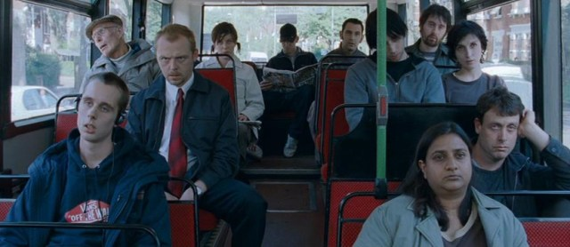 Shaun of the Dead, Simon Pegg en el autobus.