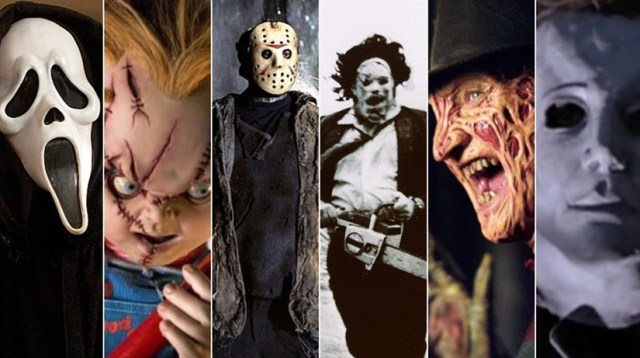 Asesinos del slashser. Ghostface, Chucky, Jason, Cara de Cuero, Freddy Krueger, Michael Myers.