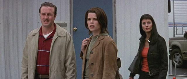 David Arquette, Neve Campbell y Courtney Cox en Scream 3