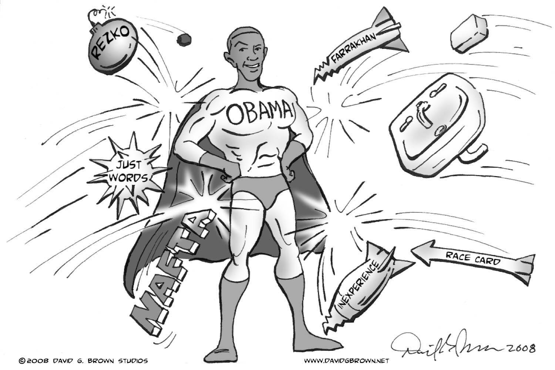 President Barack Obama political cartoon page by David G