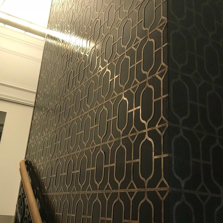 Bronze fretwork interior wall panelling