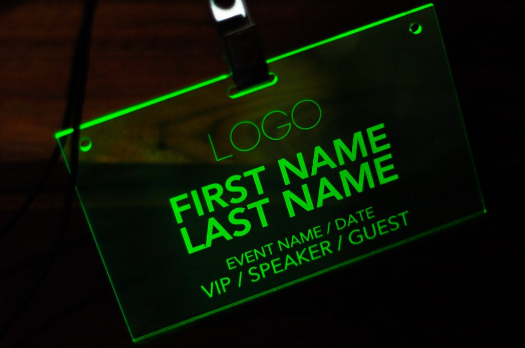 Laser Engraved Fluorescent Green Conference and Event Badges  Laser Cutting Lab LLC