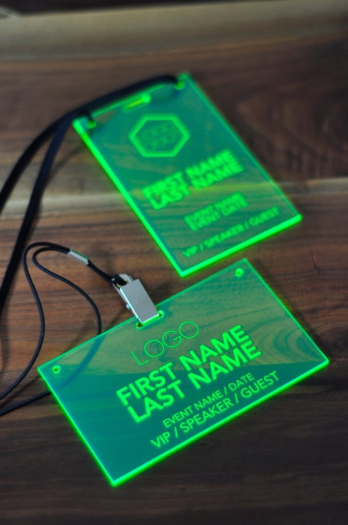 Laser Engraved Fluorescent Green Conference And Event