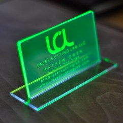 Kitchen Fluorescent Light Covers Double Sink With Drainboard Laser Engraved Green Acrylic Business Cards ...