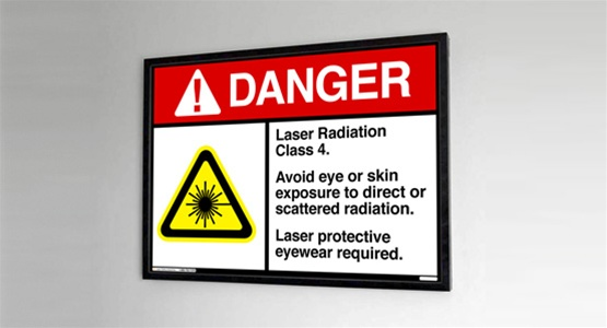 Class 4 Lit Laser Safety Sign