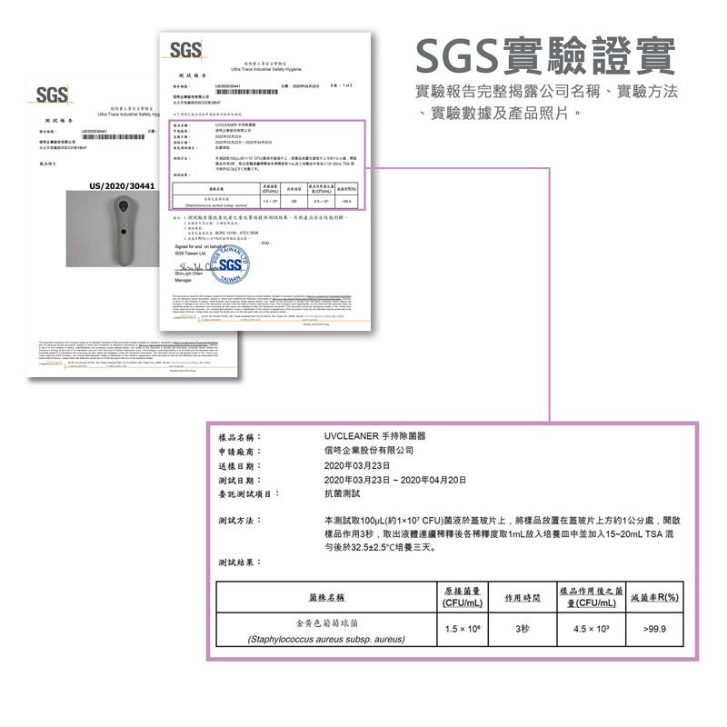 SGS實驗證實除菌率超過99.9%