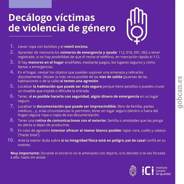 Decálogo para víctimas de violencia de género del Instituto Canario de Igualdad