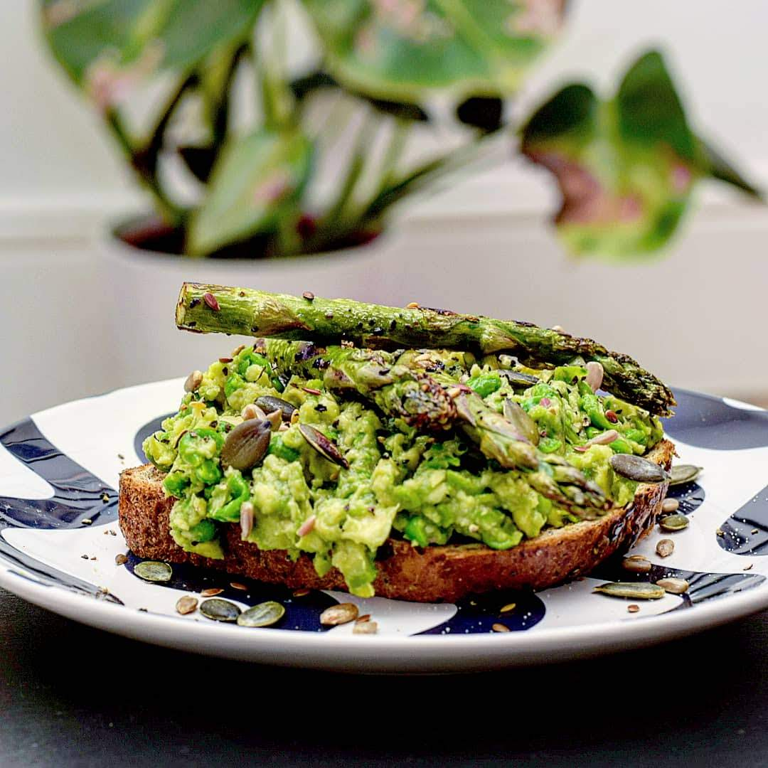 Smashed pea & avocado toast with asparagus recipe