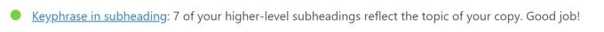 WordPress Yoast SEO 分析 - Keyphrase in subheading 綠燈