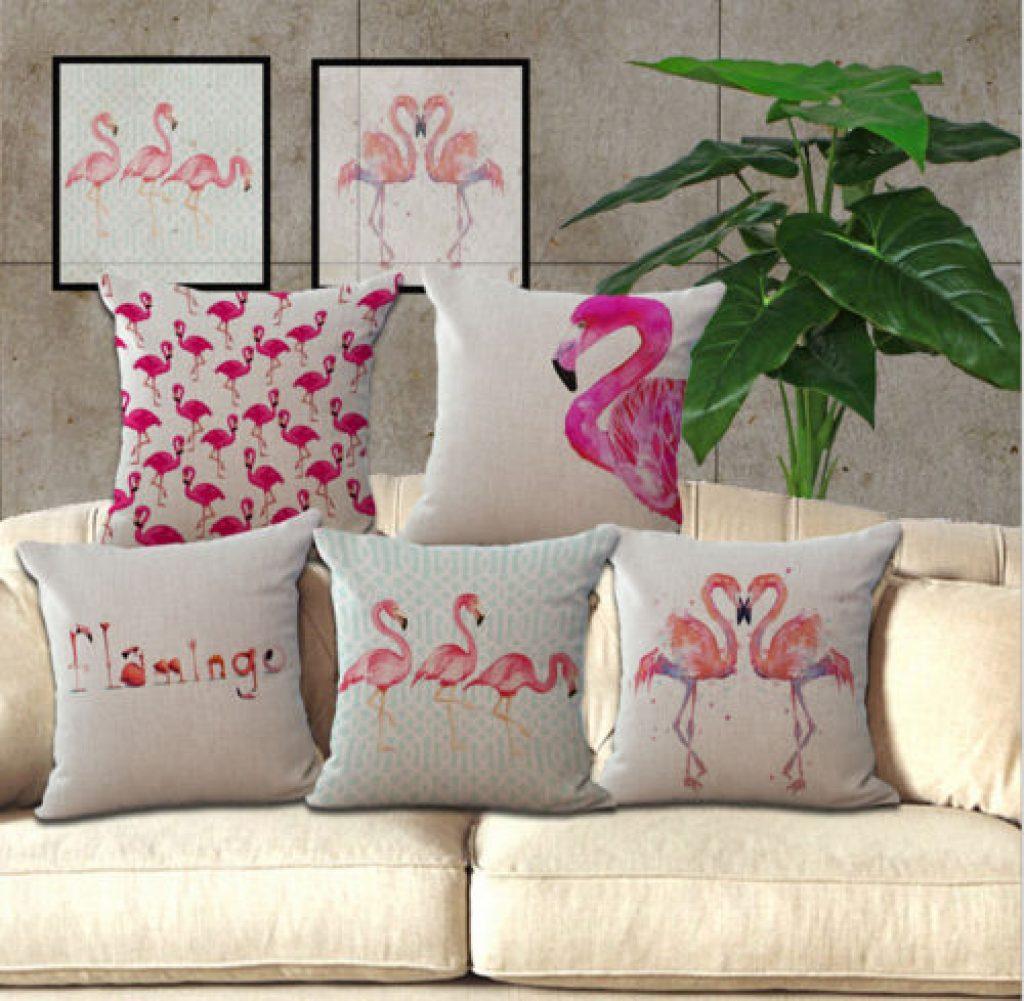 pink sofa throw catnapper ranger sleeper cojines tropicales de verano piña flamingo palmas y más