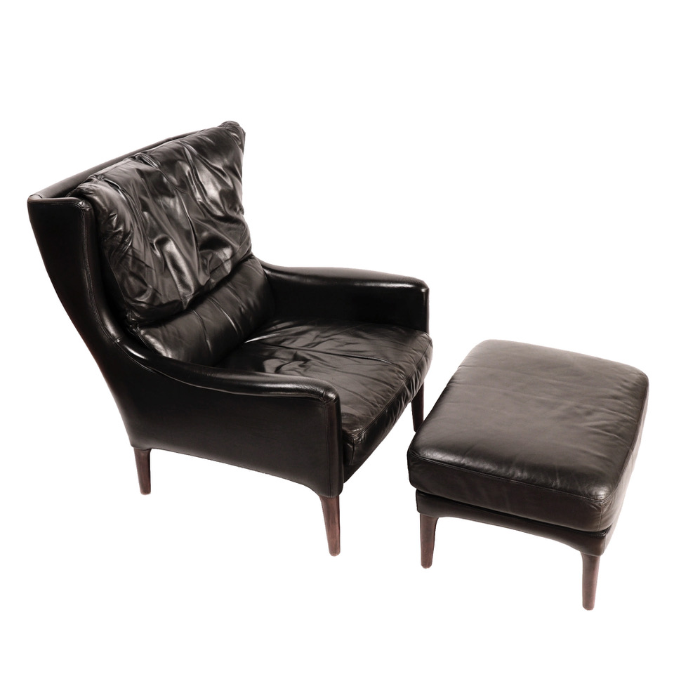 Black Leather Lounge Chair Uh70006 Danish Lounge Chair And Foot Stool