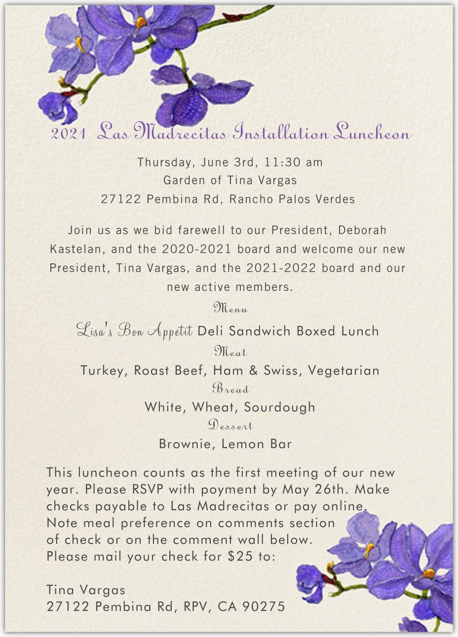 invitation Las Madrecitas 2021-2022 Installation Luncheon