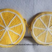 Monedero limón a ganchillo