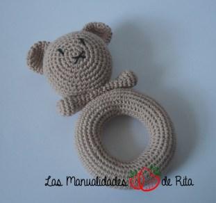 Sonajero osito crochet