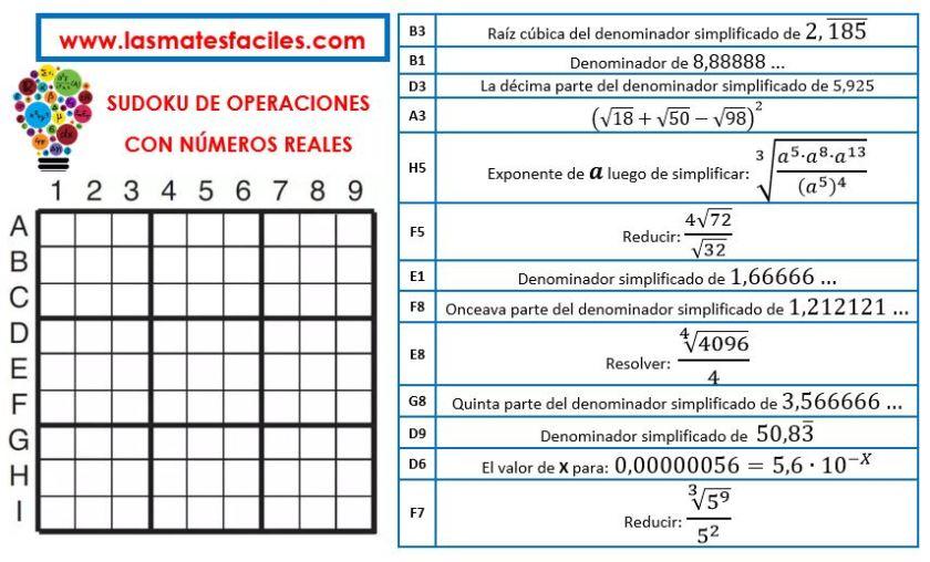 sudoku de las operaciones