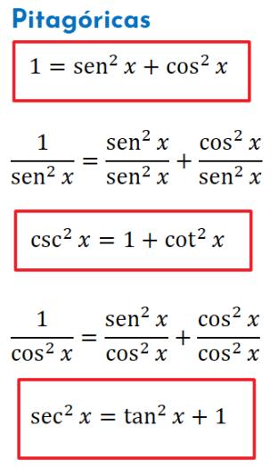 identidades trigonométricas pitagóricas