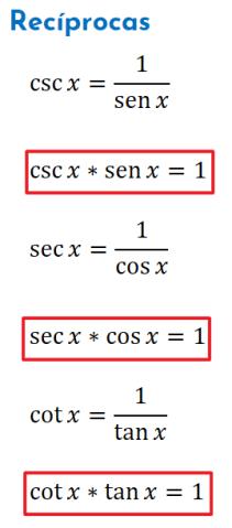 identidades trigonométricas recíprocas