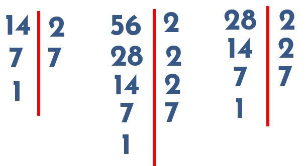 descomposición en factores del 14 el 28 y el 56