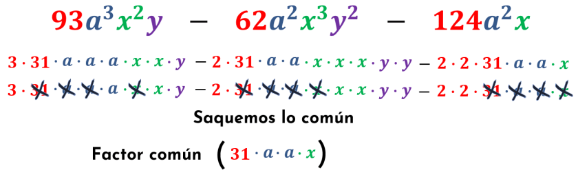 sacando el factor común del cuarto ejemplo