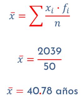 ejemplo de media aritmética par datos agrupados