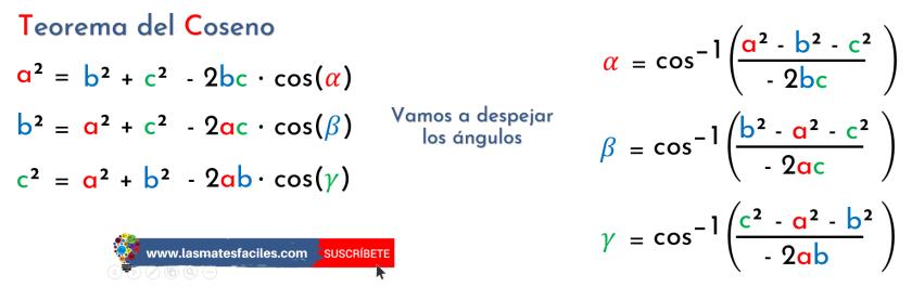 fórmulas del teorema del coseno para calcular los ángulos