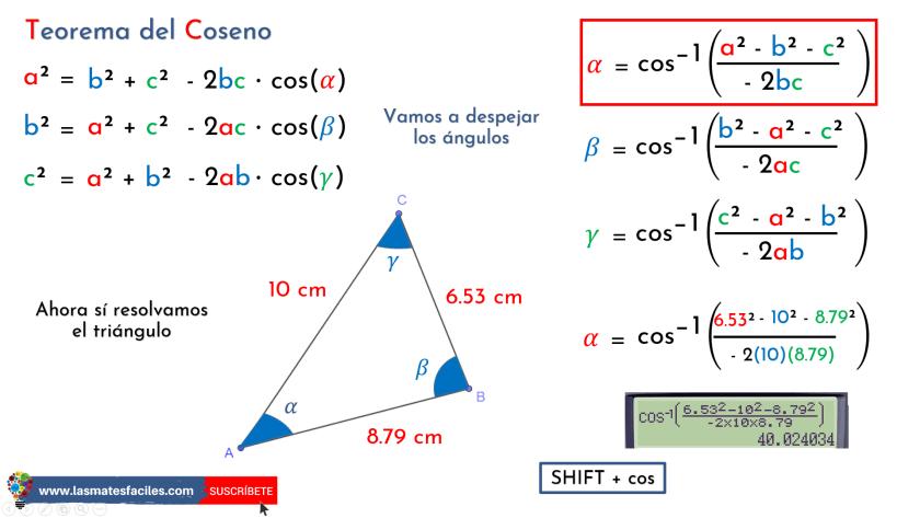 ley del coseno - calcular los tres ángulos