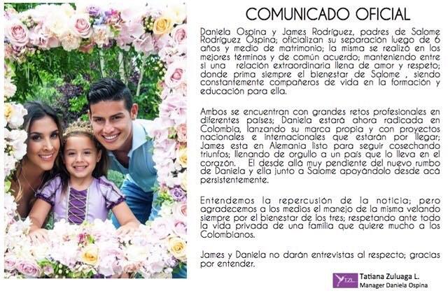 Separación de James y Daniela Ospina