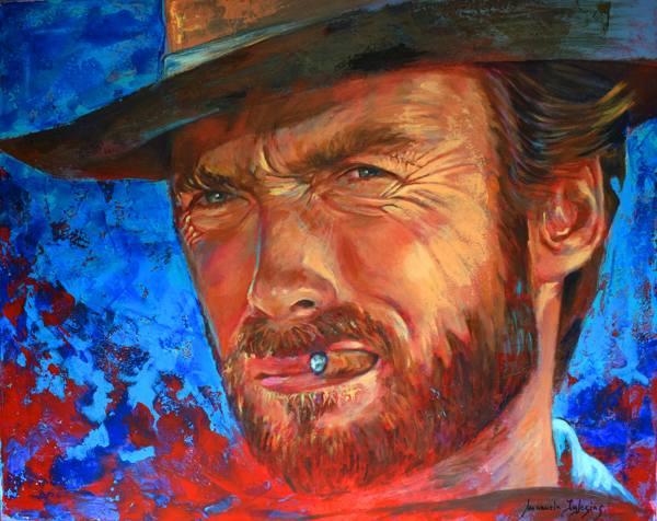 Clint Eastwood. Acrílico sobre lienzo
