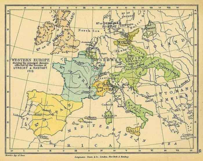 Fronteras de Europa tras el tratado de Utrecht