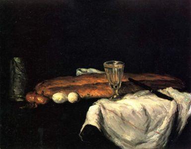 Paul Cézanne - Naturaleza muerta con pan y huevos